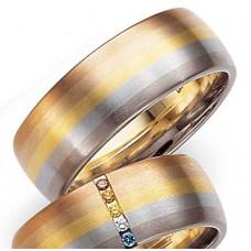 Обручальное кольцо из черного,голубого,желтого,розового и красного золота