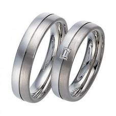 Обручальное кольцо из голубого и черного золота