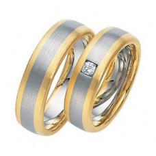 Обручальное кольцо из голубого и желтого золота c бриллиантом