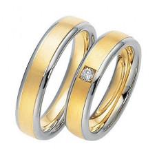 Обручальное кольцо из голубого и желтого золота с бриллиантом