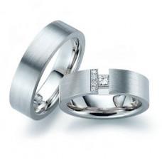Обручальное кольцо из голубого золота с бриллиантами и алмазом