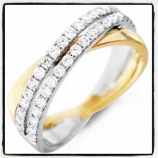 Обручальное кольцо из  и комбинированного золота со множеством бриллиантов