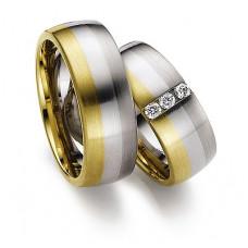 Обручальное кольцо из желтого, голубого и черног золота с бриллиантами