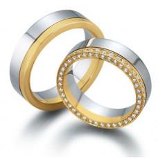 Обручальное кольцо из желтого и голубого золота c бриллиантами