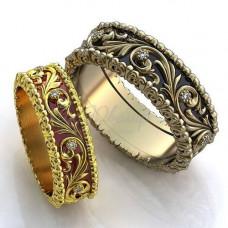 Обручальное кольцо из желтого с золота с бриллиантами и эмалью