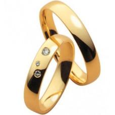 Обручальное кольцо из желтого золота c бриллиантами