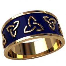 Обручальное кольцо из желтого золота c с эмалью