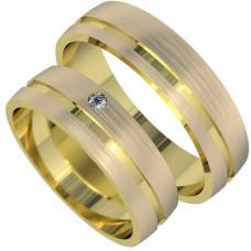 Обручальное кольцо из желтого золота, матовое