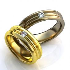 Обручальное кольцо из желтого золота с алмазом
