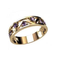 Обручальное кольцо из желтого золота с аметистами