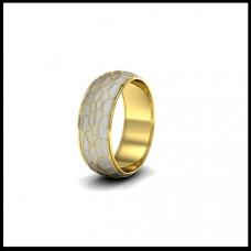 Обручальное кольцо из желтого золота с белой эмалью