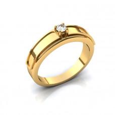 Обручальное кольцо из желтого золота с большим бриллиантом