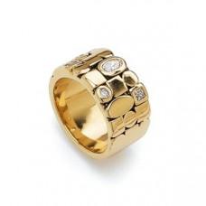 Обручальное кольцо из желтого золота с бриллиантами и алмазами