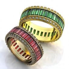 Обручальное кольцо из желтого золота с бриллиантами и изумрудами