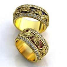 Обручальное кольцо из желтого золота с бриллиантами и сапфиром