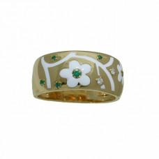 Обручальное кольцо из желтого золота с бриллиантами, изумрудами и эмалью