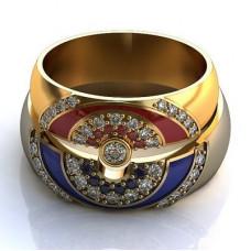 Обручальное кольцо из желтого золота с бриллиантами, рубинами и эмалью