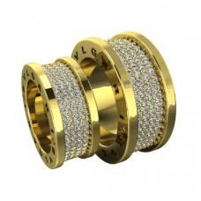 Обручальное кольцо из желтого золота с бриллиантами в четыре ряда