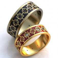 Обручальное кольцо из желтого золота с бриллиантами,рубинами и эмалью