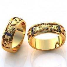 Обручальное кольцо из желтого золота с черными бриллиантами
