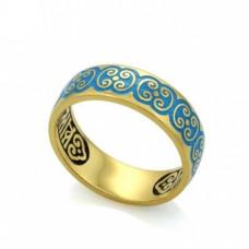 Обручальное кольцо из желтого золота с голубой эмалью