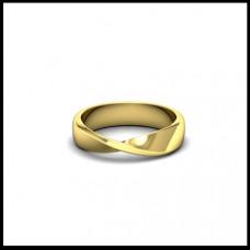 Обручальное кольцо из желтого золота с изгибом
