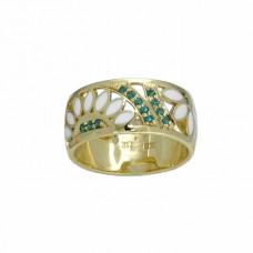 Обручальное кольцо из желтого золота с изумрудами и эмалью