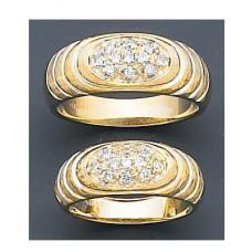 Обручальное кольцо из желтого золота с одиннадцатью  бриллиантами