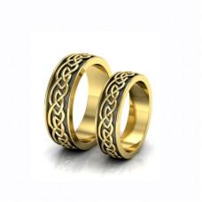 Обручальное кольцо из желтого золота с покрытием чёрным родием