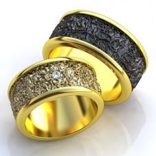 Обручальное кольцо из желтого золота с родиевым покрытием