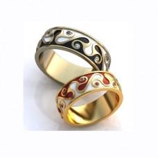 Обручальное кольцо из желтого золота с рубинами и эмалью