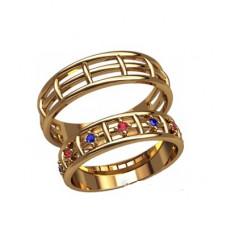 Обручальное кольцо из желтого золота с рубинами и сапфирами