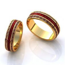 Обручальное кольцо из желтого золота с рубинами