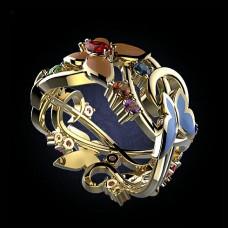 Обручальное кольцо из желтого золота с самоцветами