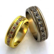 Обручальное кольцо из желтого золота с сапфирами и бриллиантами