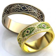 Обручальное кольцо из желтого золота с сапфирами и эмалью