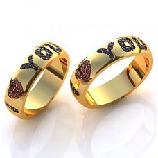 Обручальное кольцо из желтого золота с сапфирами и рубинами