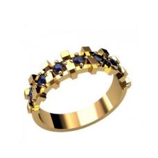 Обручальное кольцо из желтого золота с сапфирами