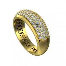 Обручальное кольцо из желтого золота с сорока пятью бриллиантами
