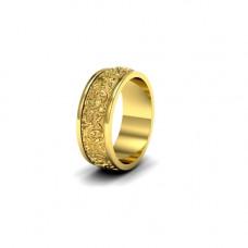 Обручальное кольцо из желтого золота с узорами