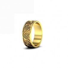 Обручальное кольцо из желтого золота с завитками