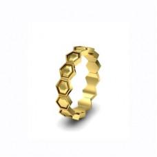 """Обручальное кольцо из желтого золота """"Соты"""""""