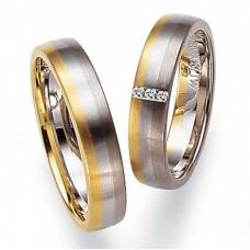 Обручальное кольцо из желтого,голубого и черного золота с бриллиантами