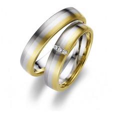 Обручальное кольцо из желтого,голубого и черного золота