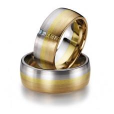 Обручальное кольцо из комбинированного и золота с цветными бриллиантами