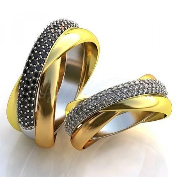 Обручальное кольцо из комбинированного с золота с бриллиантами