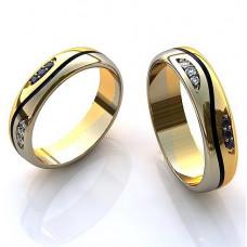 Обручальное кольцо из комбинированного золота бриллиантами