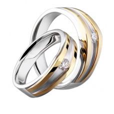 Обручальное кольцо из комбинированного золота c бриллиантом