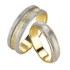 Обручальное кольцо из комбинированного золота матовое