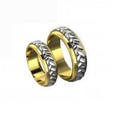 Обручальное кольцо из комбинированного золота 'Плетение'